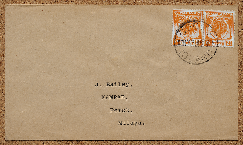 Cocos Island Bailey cover with Kedah stamps