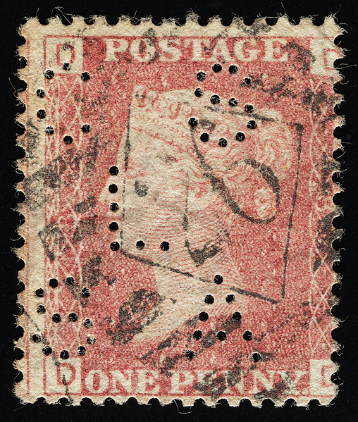 1864 Penny Red perf 14 plate 187 with CSLSA perfin