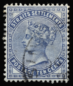 Straits Settlements 1882 Queen Victoria 10c slate definitive stamp