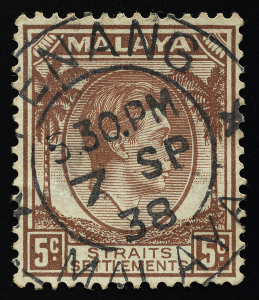 Malaya Straits Settlements KGVI 5c with socked-on-the-nose cancellation
