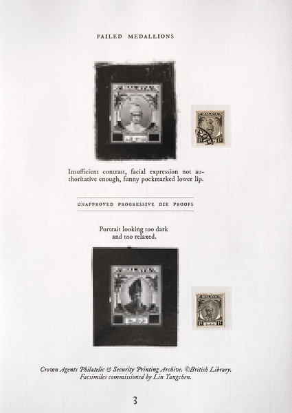 "Unapproved die proofs of Perak and Pahang sultan portraits, from the Crown Agents Philatelic and Security Printing Archive in the British Library Philatelic Collections. The reproductions were commissioned by the author for his private collection; they cannot be displayed in high resolution here as copyright remains with the British Library.<br><span style=""font-size:75%"">©Yangchen Lin</span>"