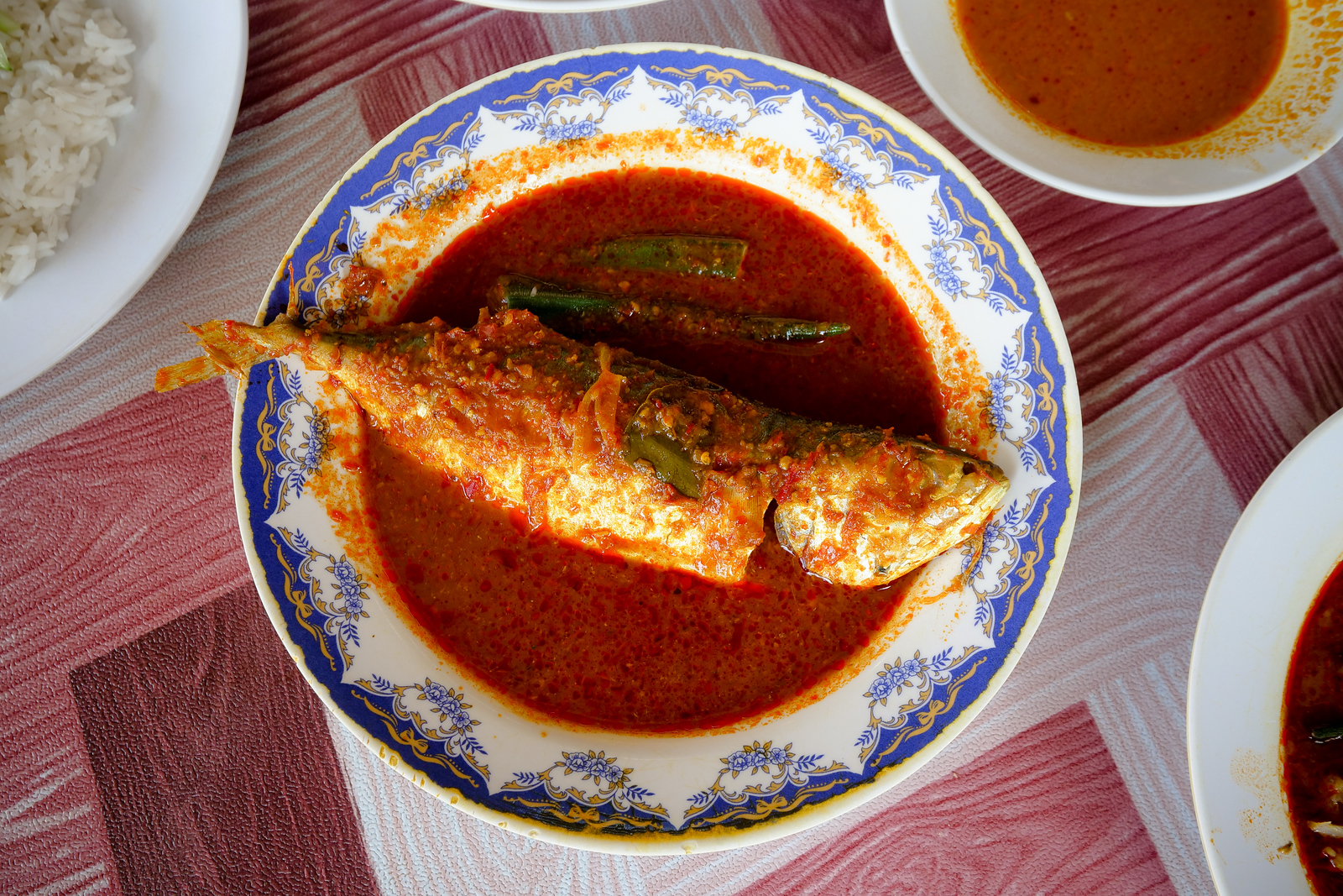 Wonderful sour and spicy curry soup in Melaka, a great restaurant for this dish is Asam Pedas Pakman