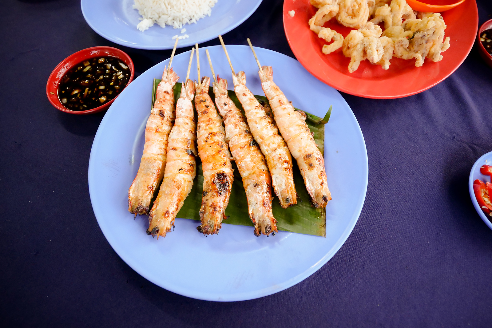 Salted Grilled Shrimp at Melaka's best restaurants Ikan Bakar Hj Musa