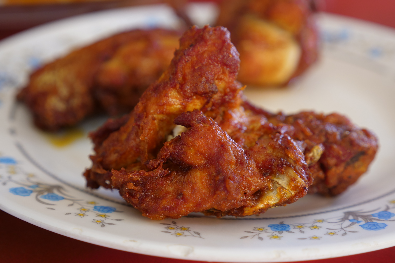 Fried Chicken is both cheap and extremely satisfying, its the local favorite at Annuar's Fish Head Curry Restaurant