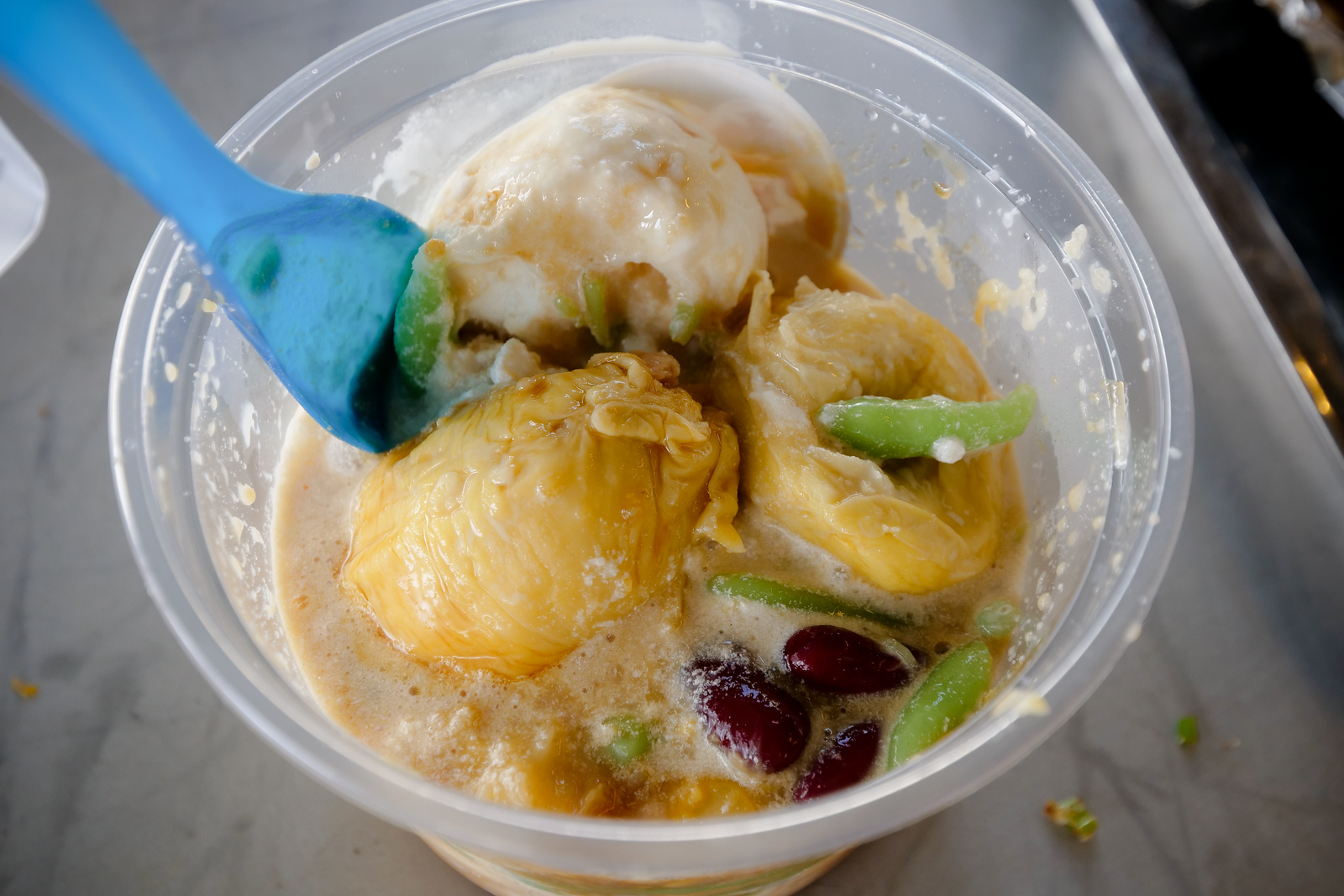 An amazing dessert, also full of durian. This durian cendol at Gobang Maju was amazing