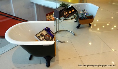 Two chairs made from  a bathtub in a Body Shop outlet in Kuala Lumpur, Malaysia in August 2017