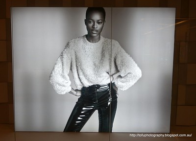 Photo of a black model in a shop window in Kuala Lumpur, Malaysia in August 2017