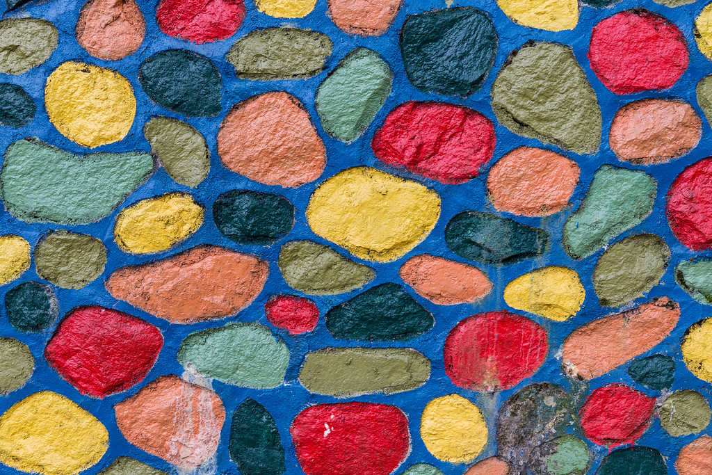 Colourful rock wall