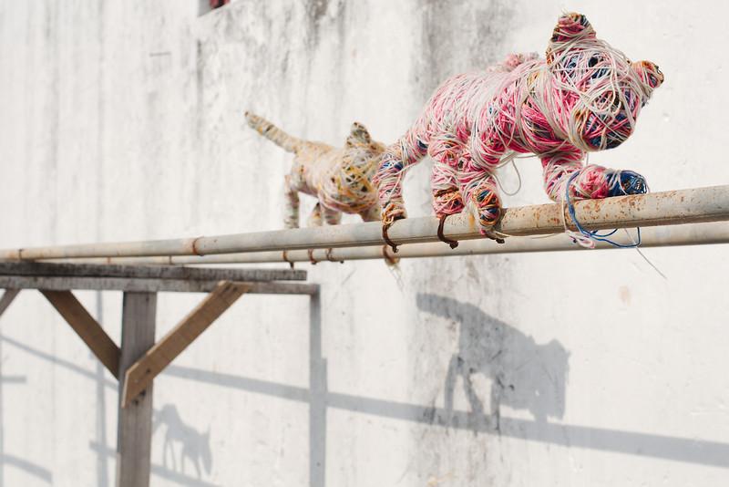 "Art installation next to  ""Skippy the Giant Cat"""