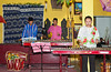 Musicians entertaining at the Batik shop in Johor Bahru, Malaysia.