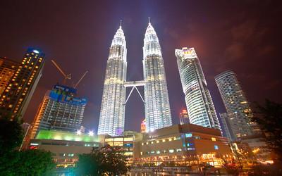Petronas Twin Towers at night from Kuala Lumpur City Centre Park, KL, Malaysia