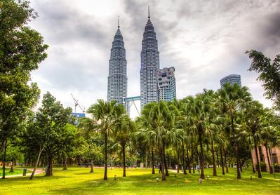 Petronas Twin Towers from Kuala Lumpur City Centre Park, KL, Malaysia