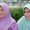 Incredibly gorgeous mother and daughter in matching tudungs at the Jamek Mosque