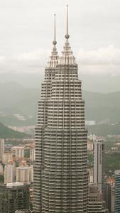 Petronas Twin Towers as seen from Menara Kuala Lumpur. KL, Malaysia