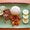 Yann's finished product nasi lemak (coconut rice) and shrimp sambal