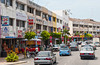 A modern street with stores and shops in Malacca, Malaysia