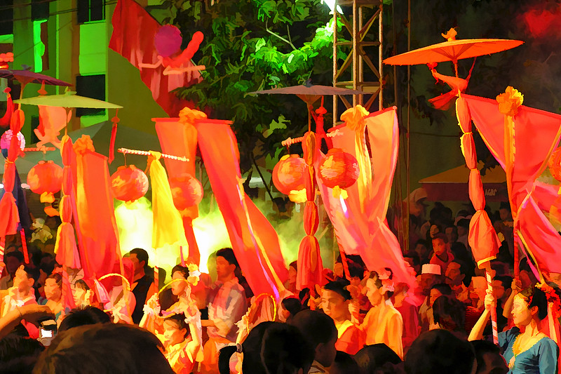 Painting effects of cultural music and dances during Chinese New Year celebrations 2007 at Jalan Hang Tuah, Melaka.