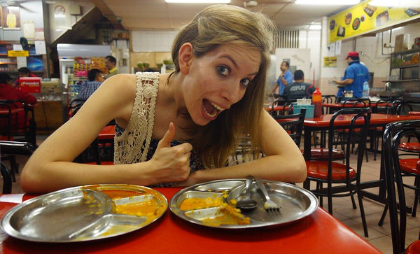Audrey-eating-Indian-food