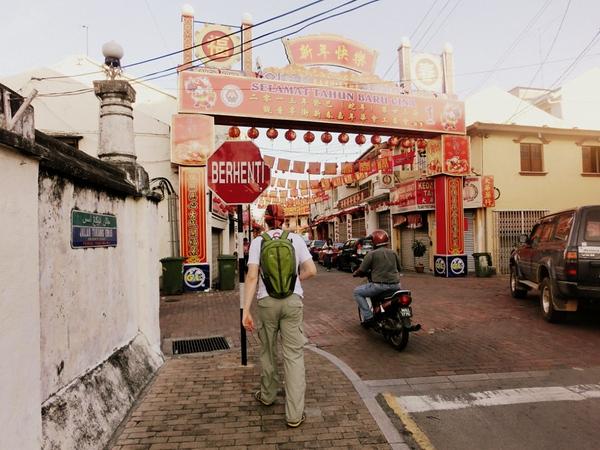 Walking around Chinatown in Melaka, Malaysia