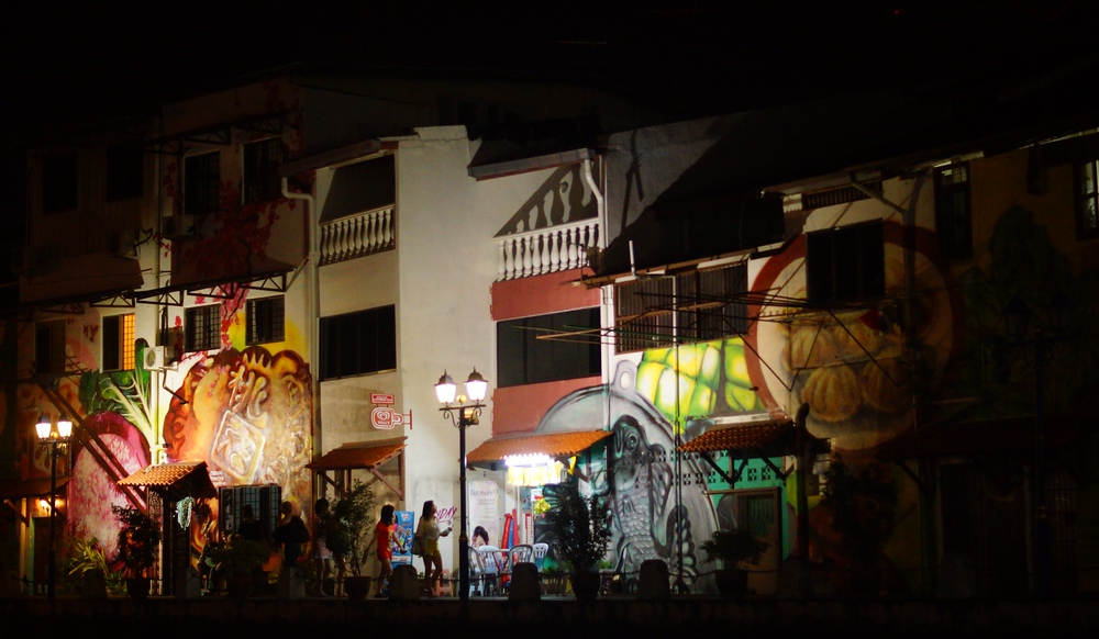 Night Graffiti murals along the Malacca River in Melaka, Malaysia Photo