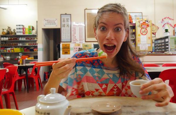Audrey Bergner of That Backpacker eating dim sum