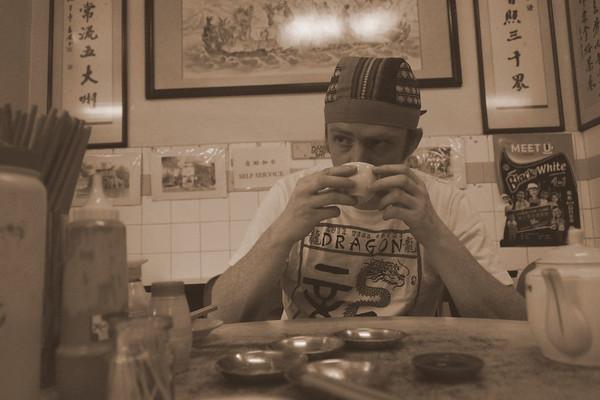 Nomadic Samuel Jeffery sipping on Chinese tea