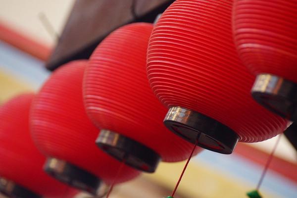 Red paper lanterns in Melaka