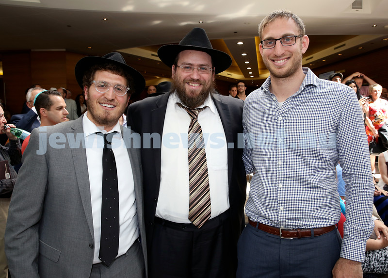 Malcolm Turnbull at Central Shule. (from left) Rabbi Gabi Kaltmann, Rabbi Eli Feldman, Rabbi Benji Levy. Pic Noel Kessel.