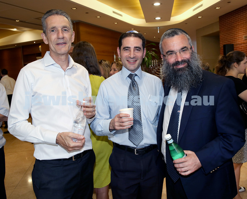Malcolm Turnbull at Central Shule. (from left) Richard Andrews, Anthony Orkin, Rabbi Dovid Slavin. Pic Noel Kessel.