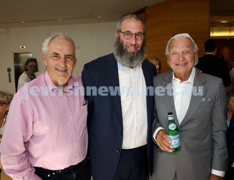 Malcolm Turnbull at Central Shule. (from left) Lew Levi, Rabbi Mendel Kastel, Wolfie Pizem. Pic Noel Kessel.