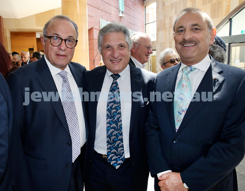 Malcolm Turnbull at Central Shule. (from left) Manfred Holzman, Robert Schneider, Robert Goot. Pic Noel Kessel.