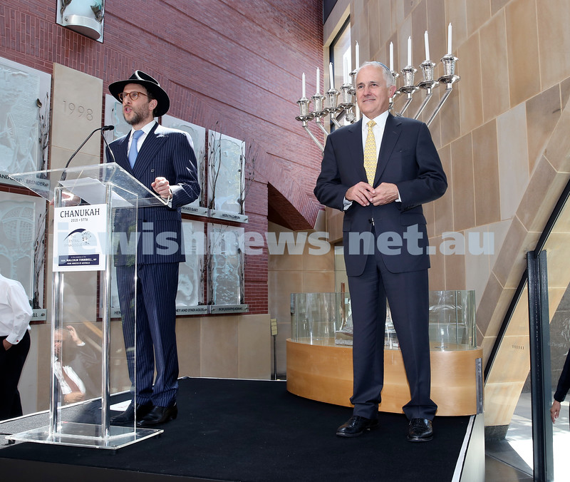 Malcolm Turnbull at Central Shule. Rabbi Levi Wolff welcomes the PM. Pic Noel Kessel.