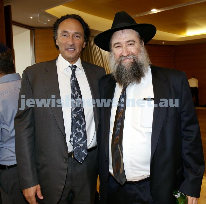 Malcolm Turnbull at Central Shule. Rodney Adler & Rabbi Nochum Schapiro. Pic Noel Kessel.