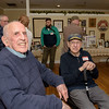Malcolm Brown (left) sits with long time golf partner Phil Pagnotta (right) during Malcom's 100th birthday celebration at the Veterans Memorial Center in Leominster on Sunday April 9, 2017.  (Sentinel & Enterprise photo/Jeff Porter)