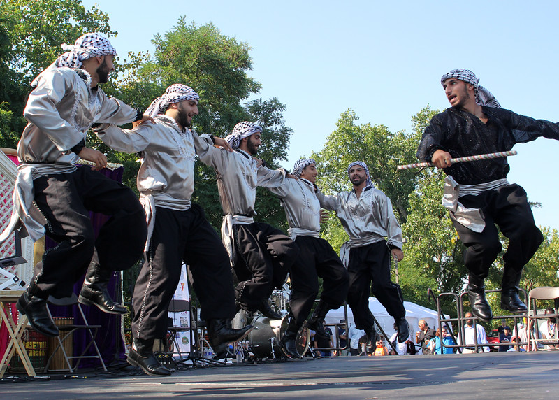 Malden, Ma. 9-17-17. Front man Mohammad Shalodi, right, perfroming with the Freedom Dabka Group at the second annual Malden Muslim festival