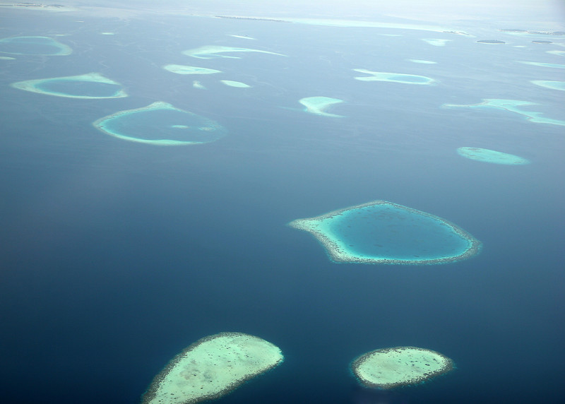 Sight from a seaplane on the way from Male to Vakarufalhi, Maldives