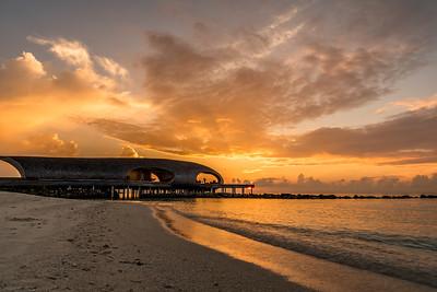 Sunset view at St. Regis Maldives Vommuli Resort.