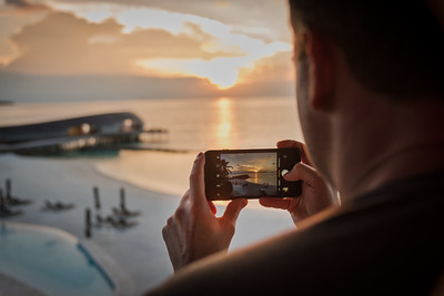Capturing the sunset at St. Regis Maldives.