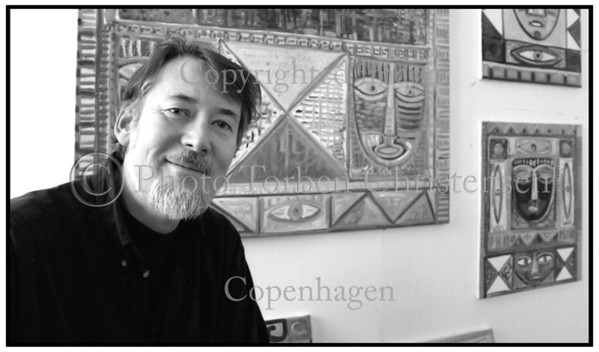 Kunstmaleren Claus Bøjesen i sit atelier på Nørrebro 1999