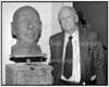Erik Fischer afskedsreception 1990 Statens Museum for Kunst Fischer med hans Buste