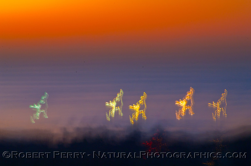 In this long exposure, the lightboats working off Paradise Cove become sprites dancing on the pre-dawn ocean.