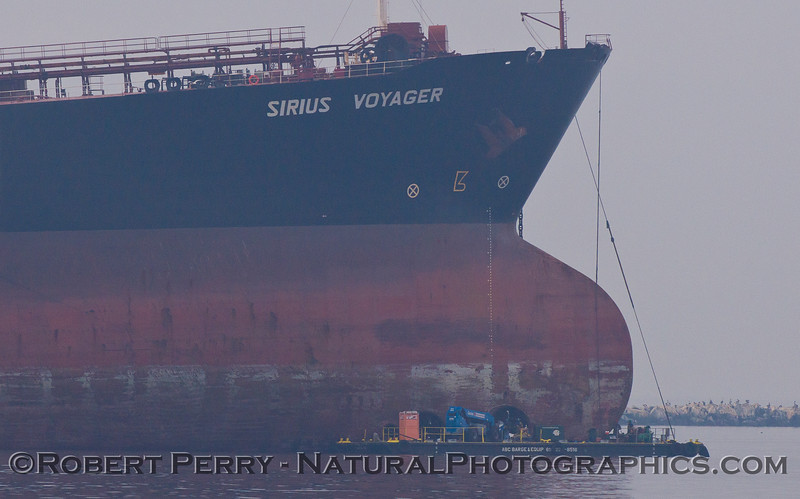 vessel Sirius Voyager at anchor & ABC Barge bulbous bow CLOSE 2011 10-25 Long Beach  - 076