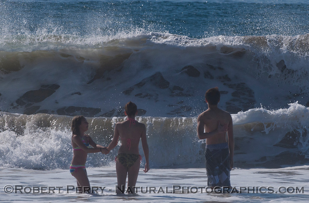 people and waves.