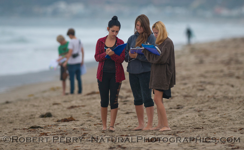 Three students record data.
