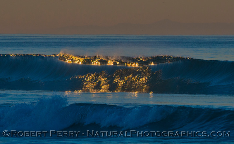The first light of the sun creates a magical pattern of reflection on a blue, glassy morning wave.