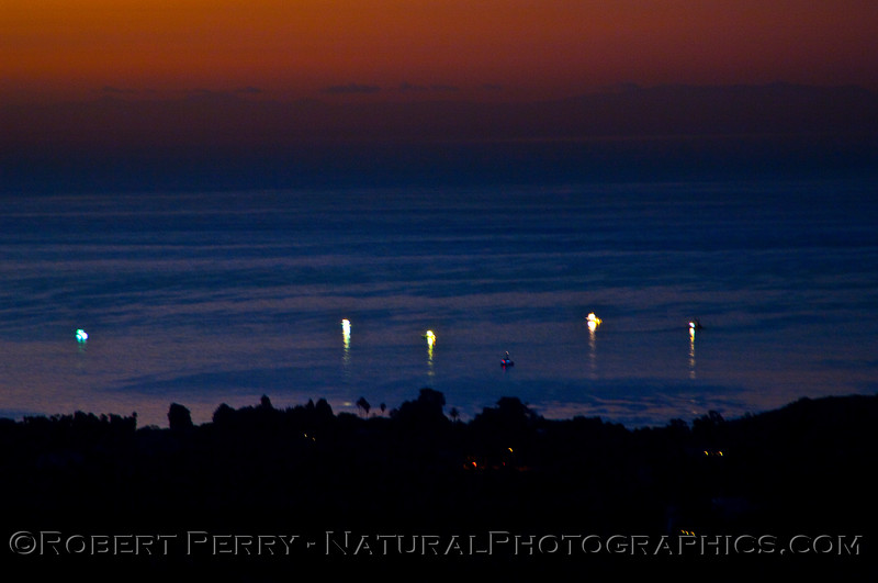 5:52am - lightboats working off Paradise Cove.