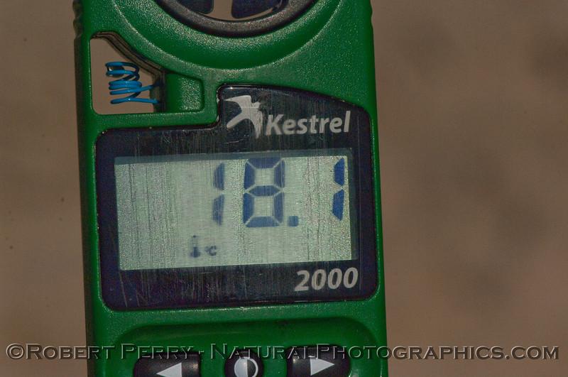 The Kestrel 2000 thermoanemometer reading air temperature 18.1C.