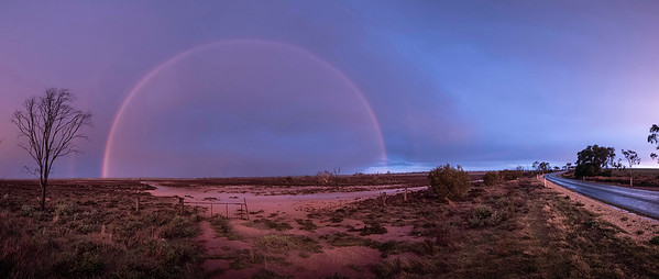 sunset rain storm and rainbow  just outside Sealake, mallee