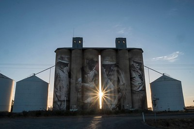 Brim silos: Artist Guido van Helten has turned the tiny town of Brim in Victorias Mallee region, with a population of about 100, into a tourist destination overnight, and social media is cluttered with photos of his work. People are in awe of the four characters, standing 30 metres tall, on the iconic Australian structures.
