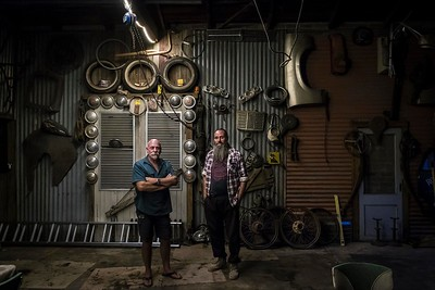 Mic Frazer and Rodney Clarke in Mic's garage in the centre of Rainbow, Mallee region Victoria.